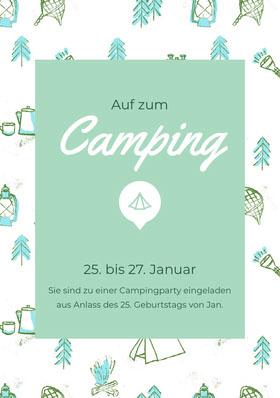 Camping<BR> Einladung zum Geburtstag