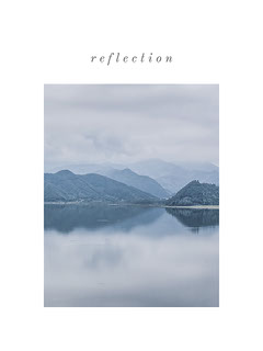 Light Blue and White Reflecion poster Lake