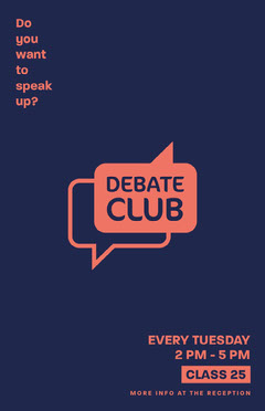 Minimalist Debate Club Poster Back to School