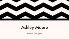 Black and White Interior Designer Business Card with Zig Zag Pattern Interior Design