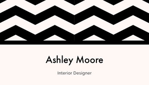 Black and White Interior Designer Business Card with Zig Zag Pattern Tarjeta de visita