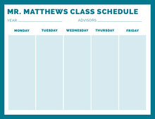 Blue Weekly Class School Schedule 일정