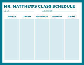 MR. MATTHEWS  CLASS SCHEDULE  Study Helpers