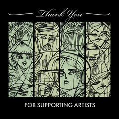 Black & Green Artist Illustration Instagram Square  Thank You Poster