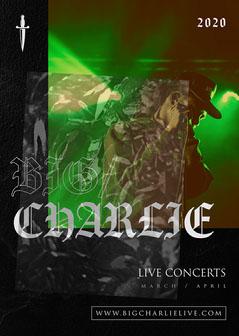 Black Modern Gothic with Dagger  Big Charlie Live Concerts Flyer  Live Music Flyer