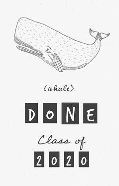 Black and White Whale Pun Graduation Congratulations Poster Graduation Congratulation
