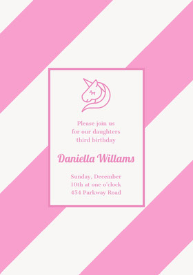 Pink Birthday Party Invitation Card with Unicorn Birthday Invitation