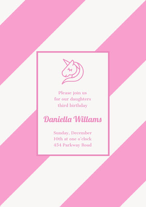 Pink Birthday Party Invitation Card with Unicorn Tarjeta de cumpleaños de unicornio