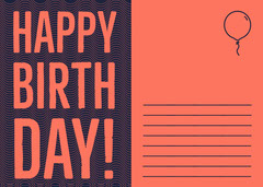Orange Happy Birthday Postcard with Balloon Birthday