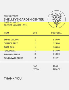 Yellow and Grey, Garden Center Receipt Garden
