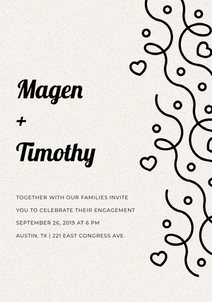 Black and White Elegant Engagement Party Invitation Card Kihlausilmoitus