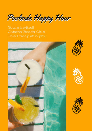 Yellow and Fresh Drinks Pool Party Invitation Happy Hour Invitations