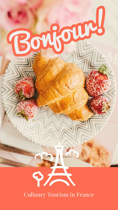 Orange Culinary Tourism in France Instagram Story with Croissant France
