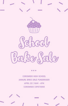 Pink Illustrated Bake Sale School Event Flyer with Sprinkles and Cupcake Cupcake