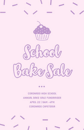Pink Illustrated Bake Sale School Event Flyer with Sprinkles and Cupcake Veranstaltungs-Flyer