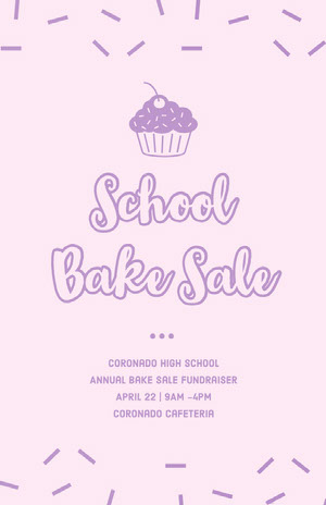 Pink Illustrated Bake Sale School Event Flyer with Sprinkles and Cupcake Pink Flyers