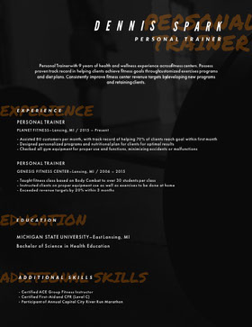 PERSONAL<BR>TRAINER Creative Resume