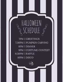 Black White Stripes Halloween Party Schedule Schema