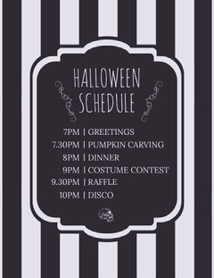 Black White Stripes Halloween Party Schedule Halloween Party Schedule