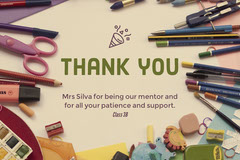 Thank You Teacher Card with School Supplies Teacher