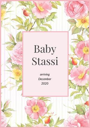 Pink Floral Pregnancy Announcement Card Aankondiging