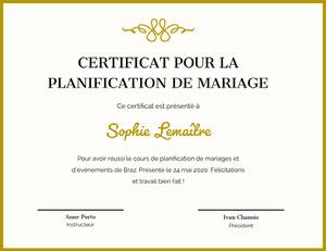 Sophie Lemaître Certificat de diplôme