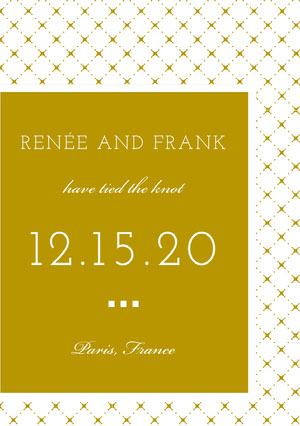 Gold Wedding Announcement Card with Pattern Wedding Announcement