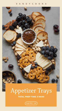 Bright, Light Toned Appetizer Tray Preparation Tip Ad Instagram Story Cheese
