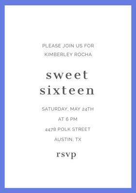 Blue and White Sweet Sixteen Birthday Invitation Card Birthday Invitation