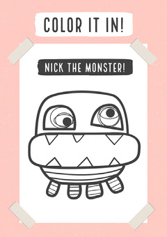 Pink Color It In Nick The Monster A4 Worksheet  Teacher