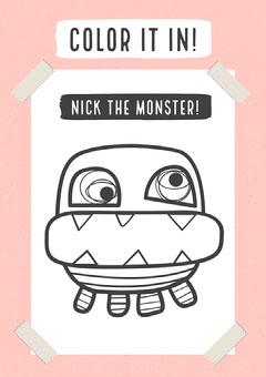 Pink Monster Coloring Worksheet Education