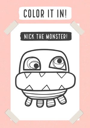 Pink Color It In Nick The Monster A4 Worksheet  Työkirja