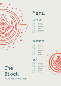 Grey and Red Cafe Menu 메뉴판