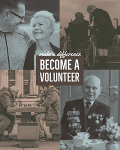 Blue and Grey Volunteer Social Post Volunteer