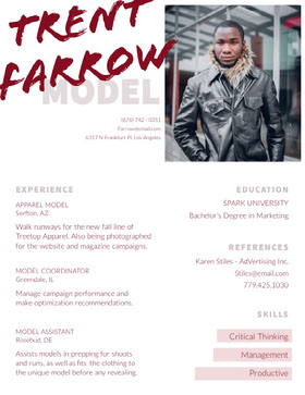 Fashion Model Resume with Picture of Man Creative Resume