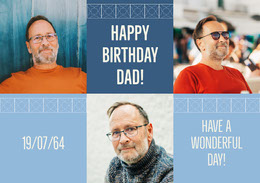 Blue Happy Birthday Dad Photo Collage Montage photo