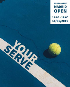 Blue and White Your Serve Social Post Tennis