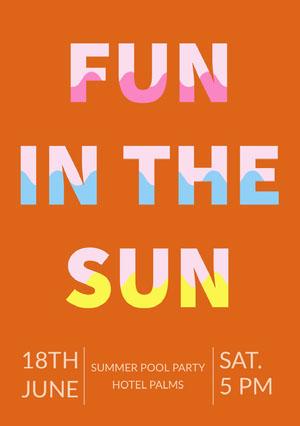 Orange Typography Pool Party Invitation Card Pool Party Invitation