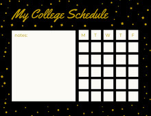 Black and Gold Weekly College Schedule with Stars Aikataulu