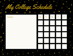 Black and Gold Weekly College Schedule with Stars College