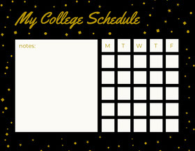 Black and Gold Weekly College Schedule with Stars Study Helpers