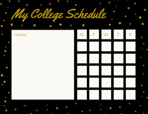Black and Gold Weekly College Schedule with Stars Horário escolar