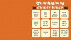 Orange Thanksgiving Dinner Zoom Bingo Thanksgiving