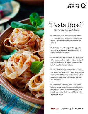 White and Bright Toned Pasta Rose Recipe Card 조리법 카드