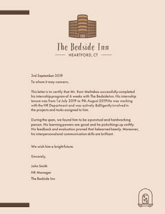 Pink Hotel Work Experience Certificate Letter Hotels
