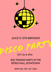 Pink, Yellow and Black Disco Party Ad Poster d'anniversaire