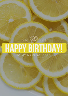 Yellow Happy Birthday Card with Lemons Fruit
