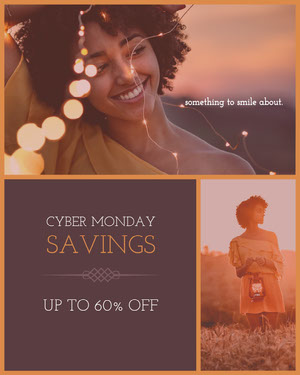 Violet With Woman Portrait Cyber Monday Social Post Crea i tuoi annunci per il Cyber Monday