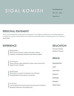 Pale Blue Modern Scientist and Engineer Resume Science