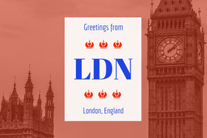 Orange London England Postcard with Big Ben Urlaubspostkarte